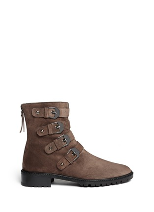 Main View - Click To Enlarge - Stuart Weitzman - 'Jitterbug' suede buckle boots