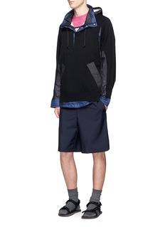 Sacai Knit ripstop patchwork hooded jacket