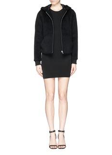 T BY ALEXANDER WANGAlpaca-wool felt zip hoodie