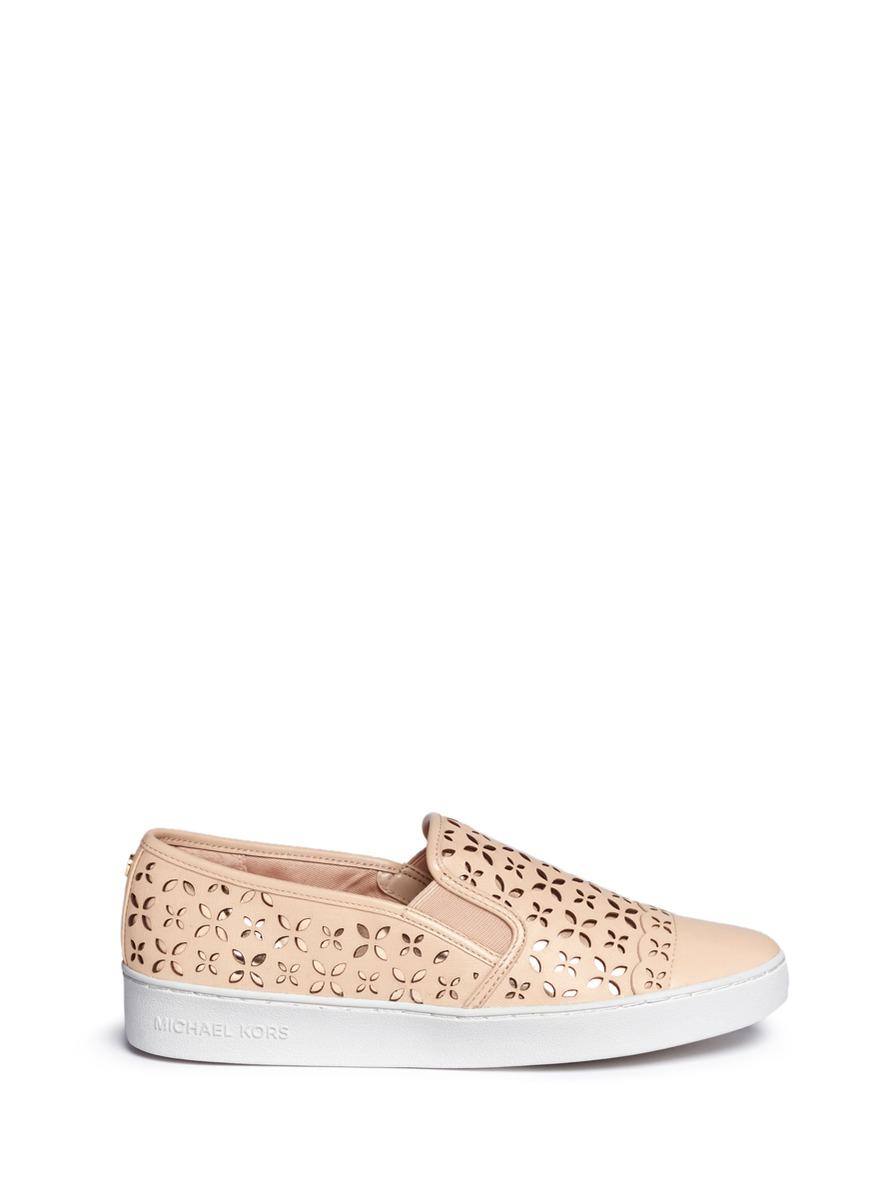 michael kors female susanna lasercut leather slipon sneakers