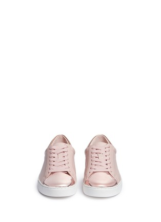 Front View - Click To Enlarge - Michael Kors - 'Frankie' mirror toe cap leather sneakers