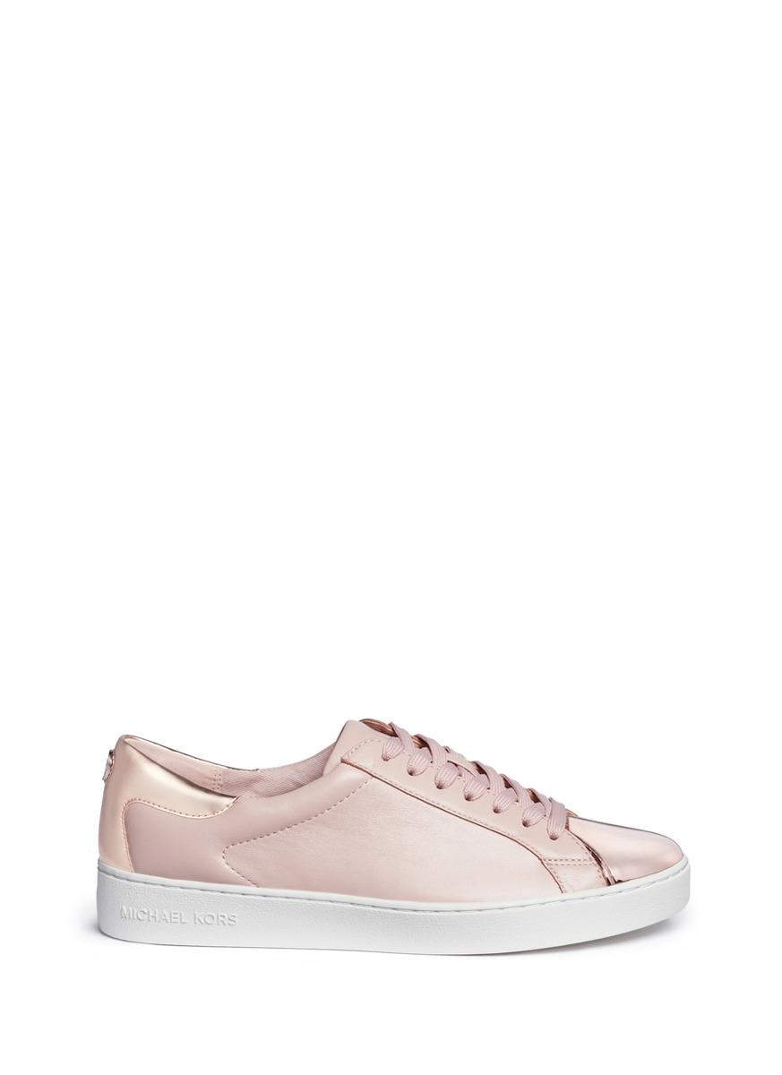 michael kors female frankie mirror toe cap leather sneakers