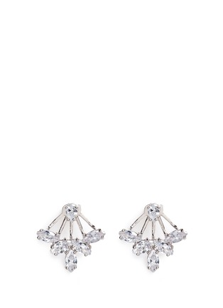 Main View - Click To Enlarge - CZ by Kenneth Jay Lane - Marquise cut cubic zirconia fan jacket earrings