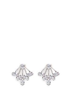 CZ by Kenneth Jay LaneMarquise cut cubic zirconia fan jacket earrings