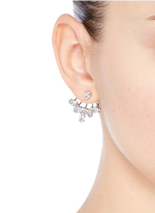 Figure View - Click To Enlarge - CZ by Kenneth Jay Lane - Marquise cut cubic zirconia fan jacket earrings