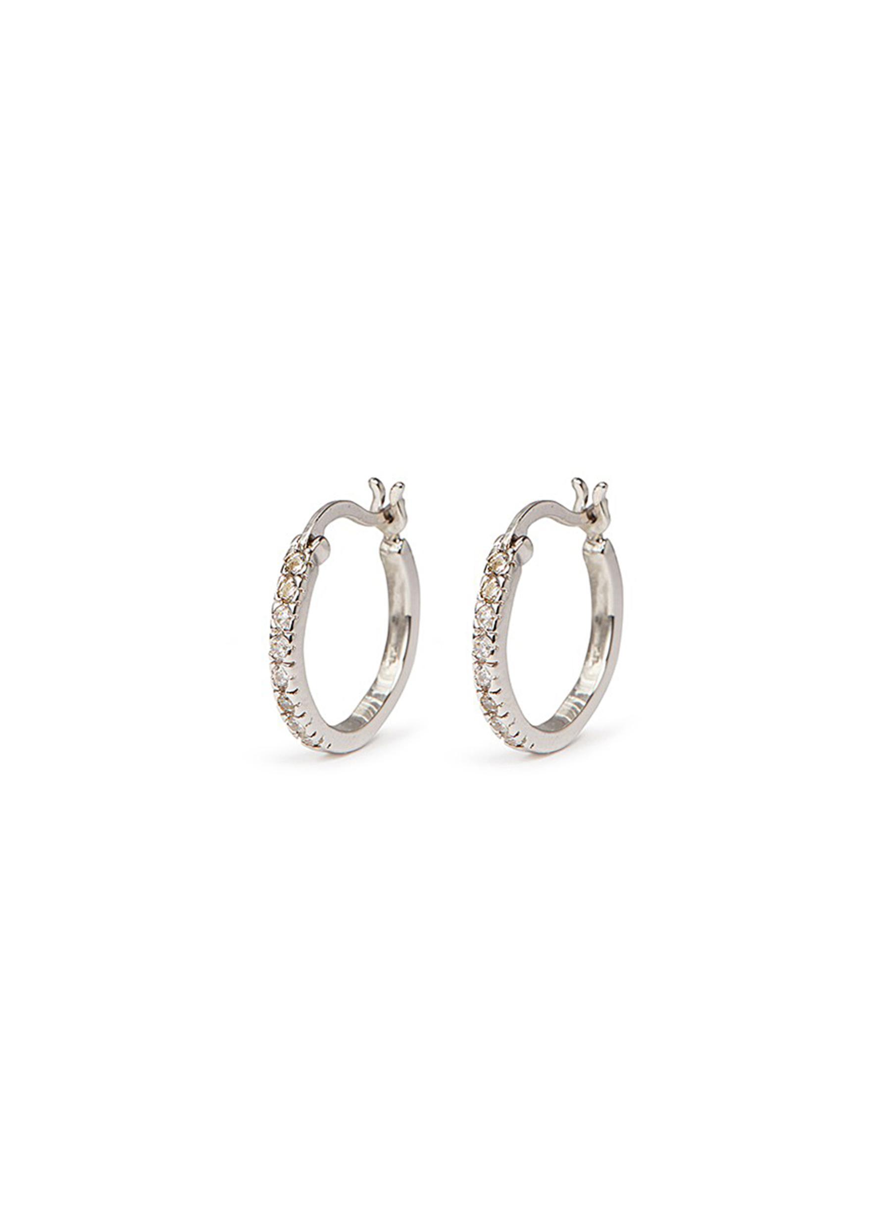 cz by kenneth jay lane female cubic zirconia pave hoop earrings