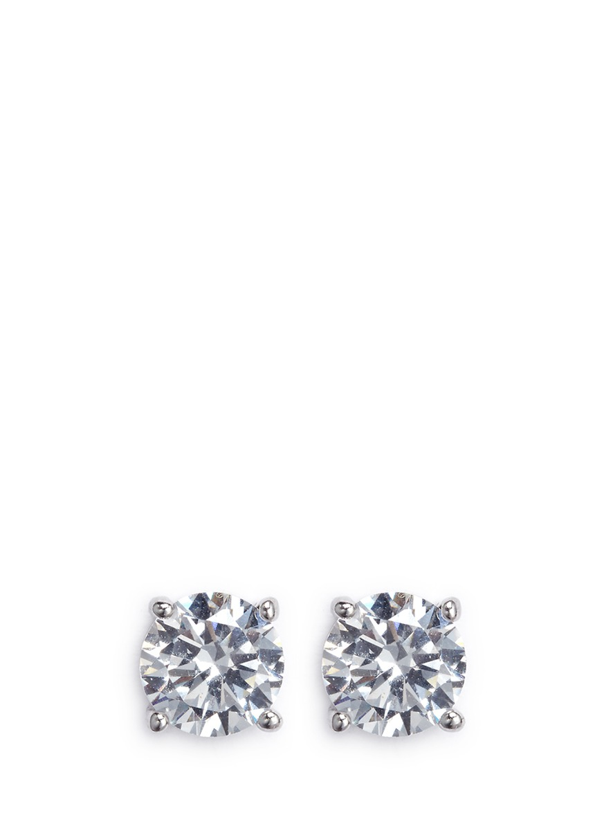 Round cut cubic zirconia medium stud earrings by CZ by Kenneth Jay Lane