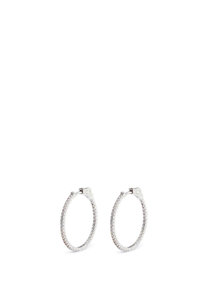 Cubic zirconia pavé hoop earrings by CZ by Kenneth Jay Lane