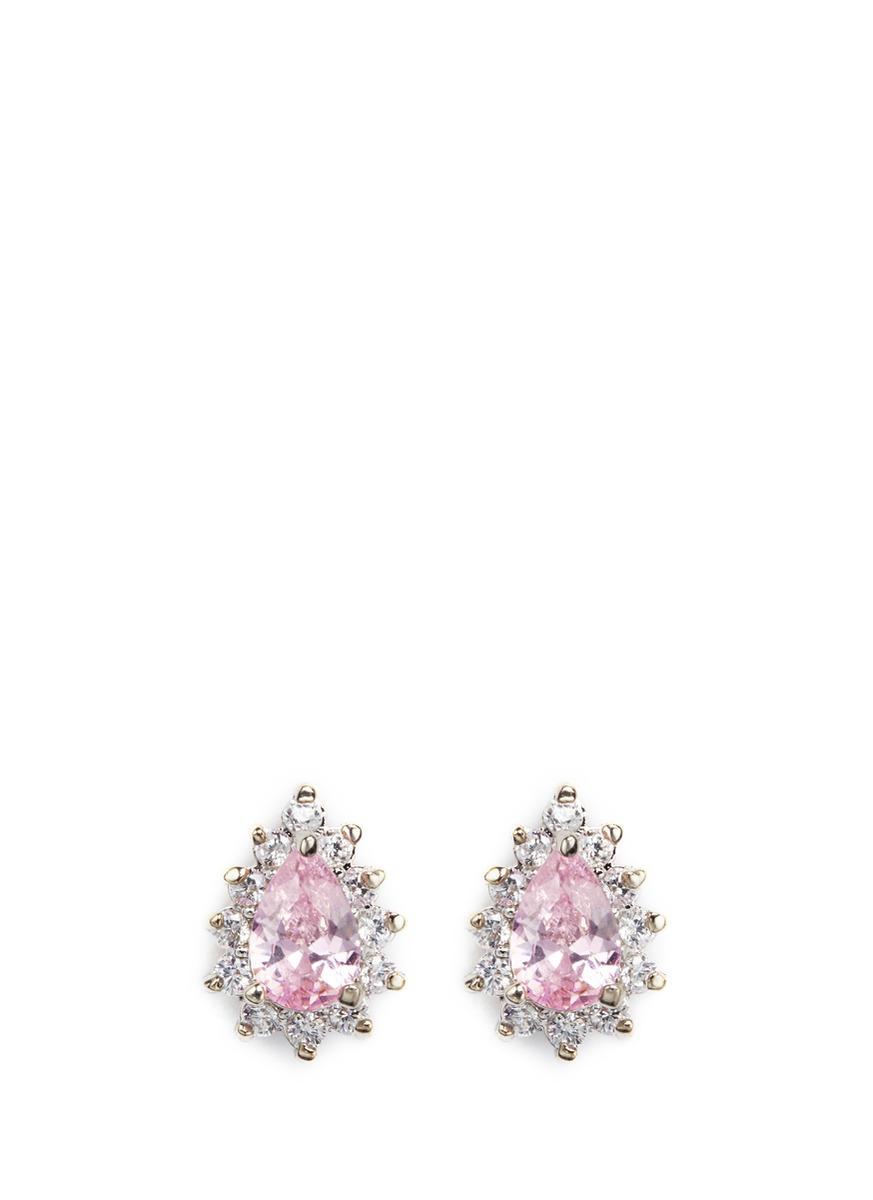 Pear cut cubic zirconia stud earrings by CZ by Kenneth Jay Lane