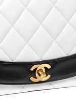 Bicolour quilted lambskin leather flap bag