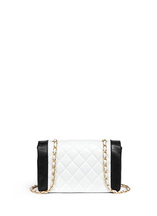 Back View - Click To Enlarge - Vintage Chanel - Bicolour quilted lambskin leather flap bag