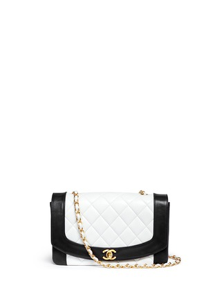 Main View - Click To Enlarge - Vintage Chanel - Bicolour quilted lambskin leather flap bag