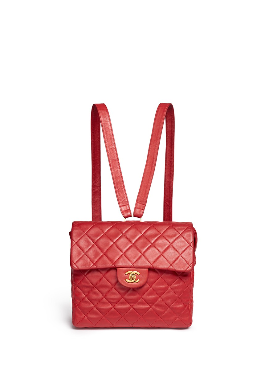 Quilted lambskin leather flap bag by Vintage Chanel