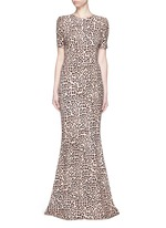 Jaguar print stretch cady gown