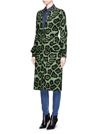 Front View - Click To Enlarge - Givenchy - Large button jaguar print peplum dress coat