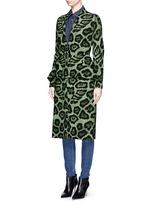 Large button jaguar print peplum dress coat