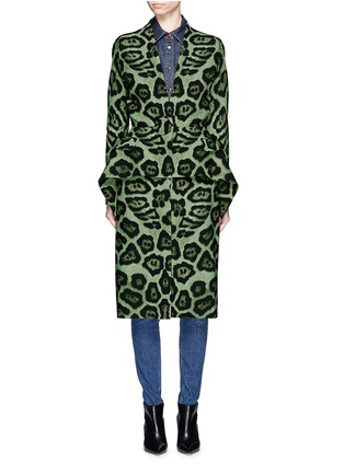 Main View - Click To Enlarge - Givenchy - Large button jaguar print peplum dress coat