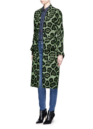 Figure View - Click To Enlarge - Givenchy - Large button jaguar print peplum dress coat