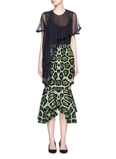 GIVENCHY Jaguar print cutout waterfall hem skirt