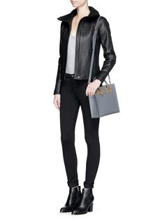 VINCEFunnel neck leather moto jacket