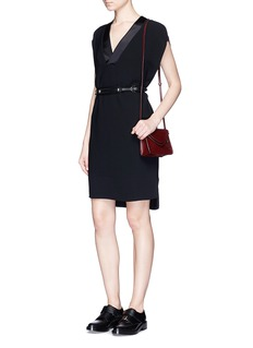 VINCESatin trim V-neck crêpe dress