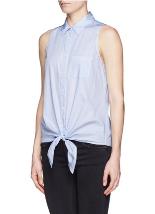Front View - Click To Enlarge - Equipment - 'Mina Tie Front' stripe sleeveless shirt