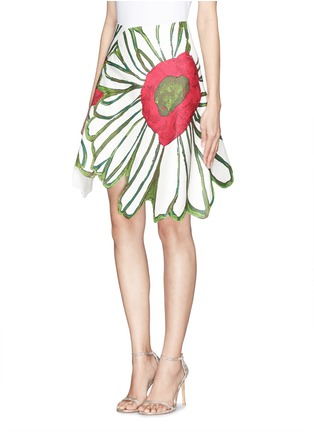 Front View - Click To Enlarge - Chictopia - Illustrated flower patchwork skirt