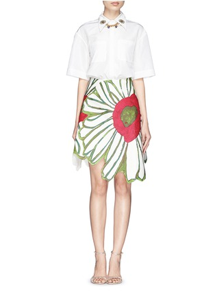 Figure View - Click To Enlarge - Chictopia - Illustrated flower patchwork skirt