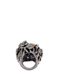 Lydia Courteille 'Rose and Frog' diamond ebony wood ring