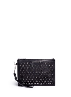 Jimmy Choo 'Derek' star embellished leather mini zip pouch