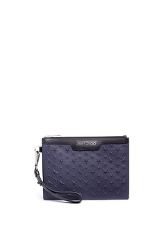 Jimmy Choo 'Derek' embossed star leather mini zip pouch
