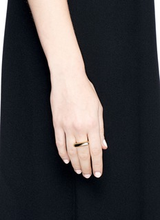 Edge of Ember'Prism' jade and marbled bar 18k gold plated ring