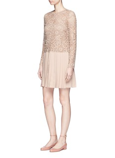ValentinoGuipure lace plissé pleated dress