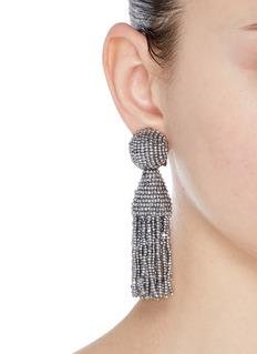 Oscar de la Renta 'Classic Short' beaded tassel drop clip earrings