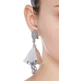 Oscar de la Renta'Mini Impatiens' petal glass crystal drop clip earrings