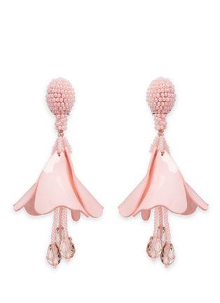 Main View - Click To Enlarge - Oscar de la Renta - 'Mini Impatiens' petal glass crystal drop clip earrings