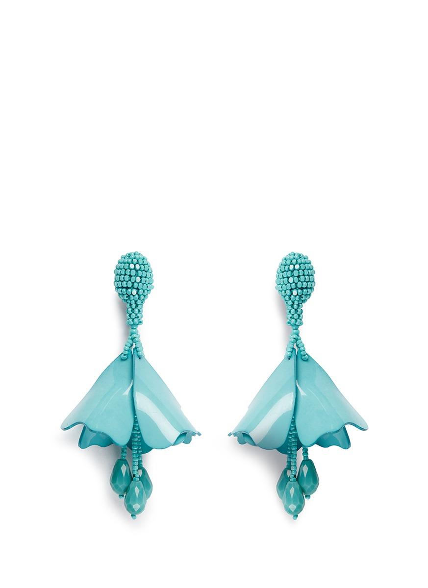 oscar de la renta female mini impatiens petal glass crystal drop clip earrings