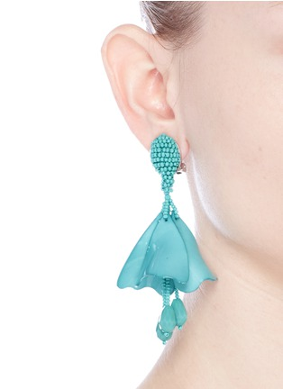Figure View - Click To Enlarge - Oscar de la Renta - 'Mini Impatiens' petal glass crystal drop clip earrings