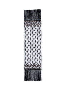 ValentinoFloral embroidered tulle fringe scarf