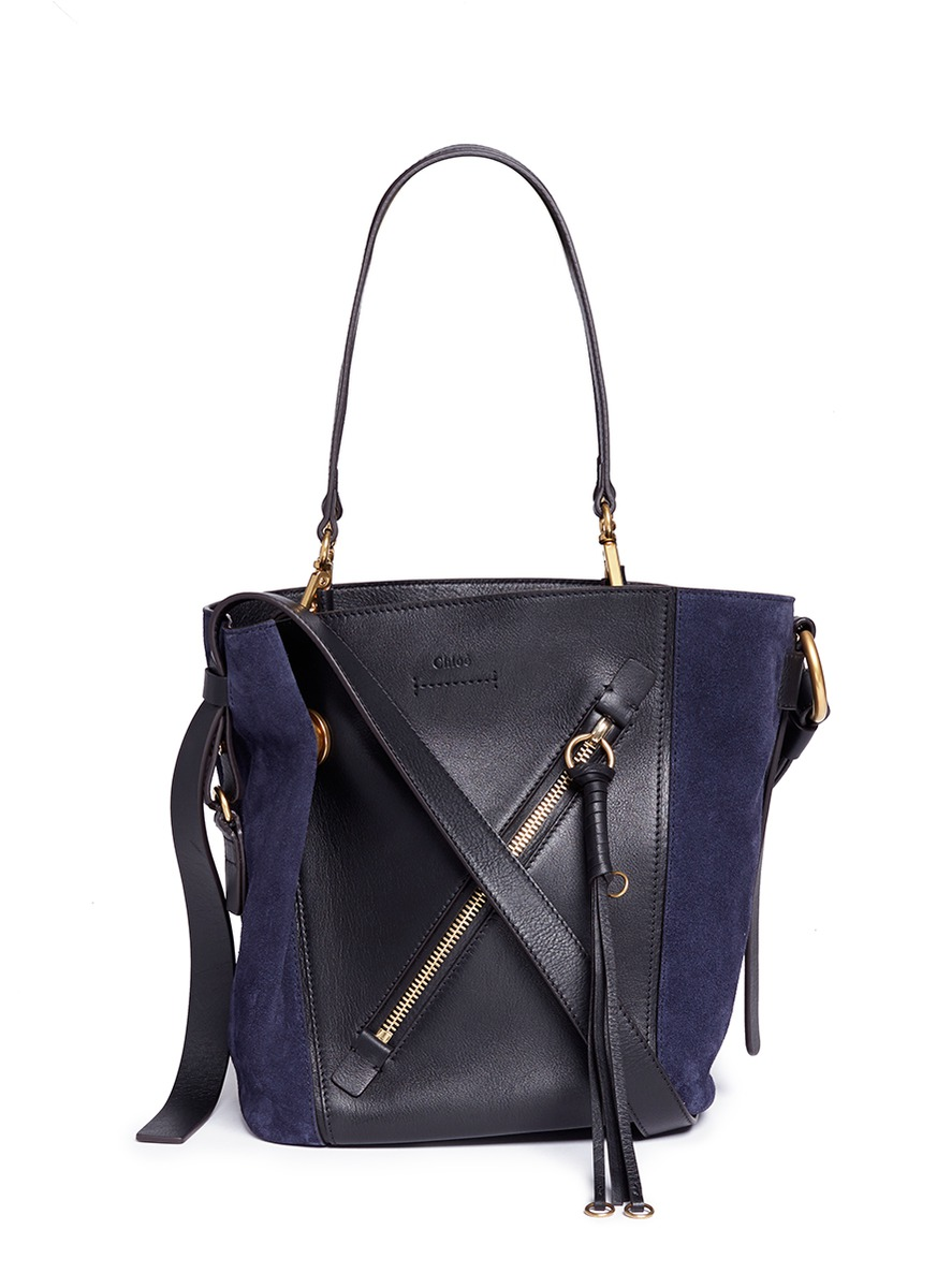 Myer small suede and leather double carry bag by Chloé