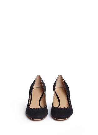 Front View - Click To Enlarge - Chloé - 'Lauren' scalloped suede pumps
