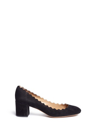 Main View - Click To Enlarge - Chloé - 'Lauren' scalloped suede pumps