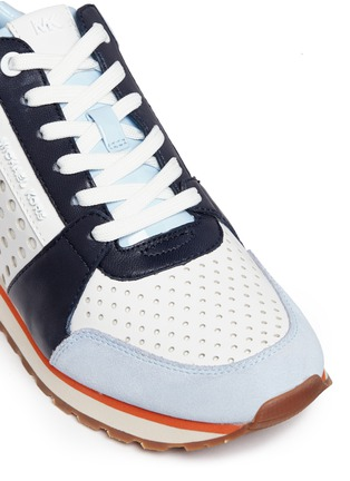 Detail View - Click To Enlarge - Michael Kors - 'Billie' perforated colourblock suede and leather sneakers