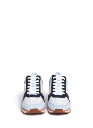Front View - Click To Enlarge - Michael Kors - 'Billie' perforated colourblock suede and leather sneakers