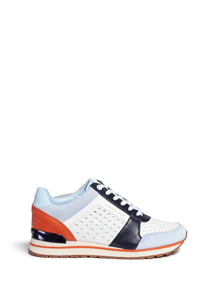 michael kors female billie perforated colourblock suede and leather sneakers