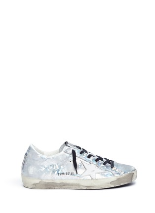 Main View - Click To Enlarge - Golden Goose - 'Superstar' shattered print holographic leather sneakers