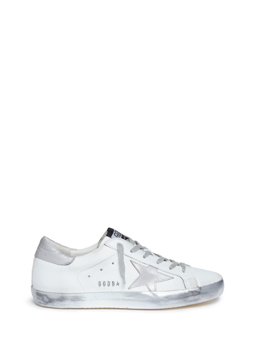 Superstar star patch smudged leather sneakers by Golden Goose