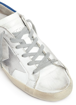 Detail View - Click To Enlarge - Golden Goose - 'Superstar' strass embellished smudged leather sneakers