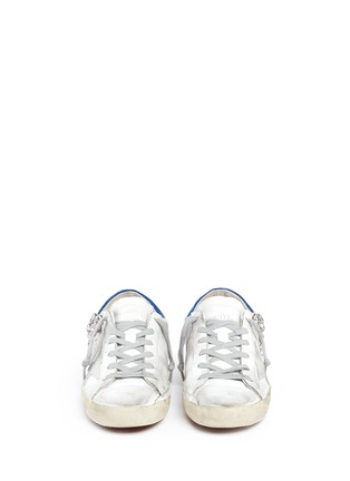 Front View - Click To Enlarge - Golden Goose - 'Superstar' strass embellished smudged leather sneakers