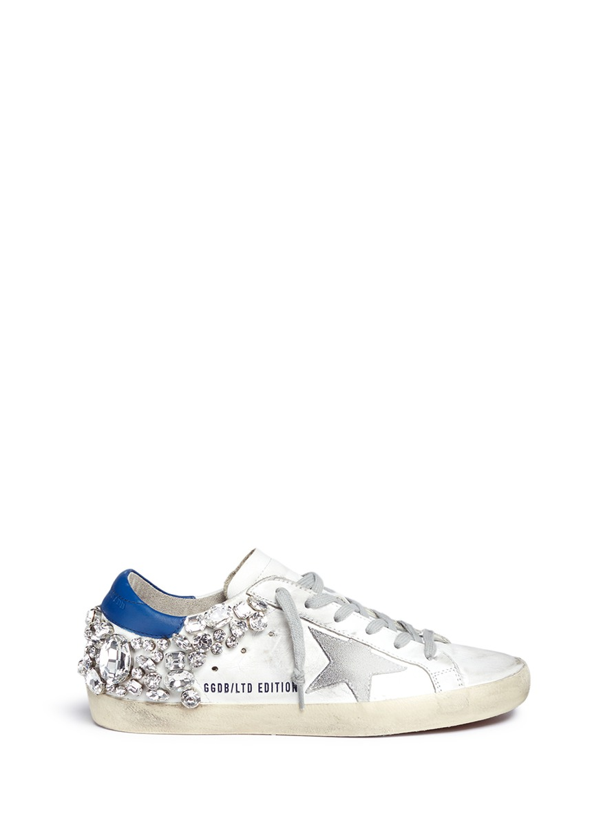Superstar strass embellished smudged leather sneakers by Golden Goose